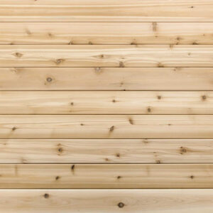 Premium grade Knotty red western cedar.<br>1×4 11/16 T&G cedar lining for walls & ceiling.
