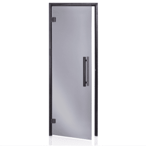 Alder Black Frame Door<br> Black Glass<br>690x1890mm<br>(27 1/8″ x 74 3/8″)<br>Left or Right Hand Opening